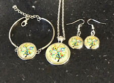 Colourful Tree Glass Cabochon Jewellery Set.includes Necklace,bracelet,earrings