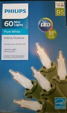 PURE WHITE 60 ctMINI LIGHTS LED Christmas PHILIPS 20 ft green wire NEW