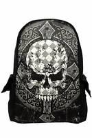 Black Gothic Punk Emo Skull Cross Canvas Rucksack Backpack Bag Banned Apparel
