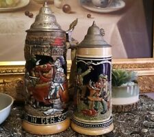 More details for rare large and medium beer stein german & foreign collectable vintage knights