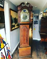 More details for georgian 8 day grandfather clock, brass moon phase dial, oak case.