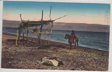 ISRAEL. DEAD SEA. DEAD BODY ON THE BEACH.  ANTIQUE POSTCARD