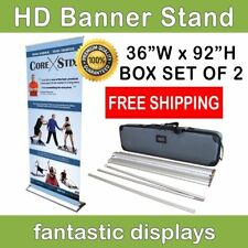 "HD Retractable Banner Stand 36"" Pro Line Up Tradeshow Display - BOX OF 2"