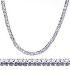 "Men's Fashion Iced Out 4 mm 26"" Round Stone Silver Plated Tennis Chain Necklace"