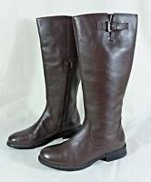 Womens 6.5 St John's Bay Chocolate Brown Leather Knee High Riding Boot Ankle Zip