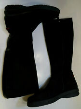 Gucci Tall Black Side Zip Nylon Boots Womens 8.5 B Leather Lined