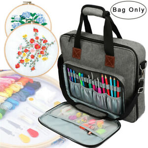 Embroidery Project Bag for Cross Stitch Storage Organizer Case w/ Inner Divider