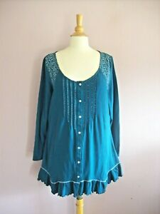 Joe Browns Size 18 Teal Stretch Cotton Jersey Button Through Tunic NEW
