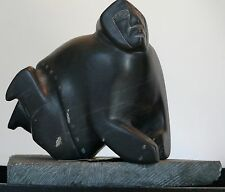 NATIVE AMERICAN INUIT CARVING THE HUNTER SCULPTURE CANADA DAVIDEE KAVIK SIGNED