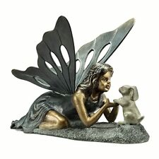 """First Friends Rabbit & Fairy Best Friends Garden Sculpture Statue Metal 22""""W"""