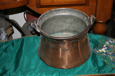 Antique Copper Middle Eastern Cauldron Kettle Bucket W/Snake Handle-Primitive