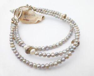 "925 Sterling Silver Multi-Color Cultured Pearl 3-Strand Beaded Hook  Bracelet 7"""