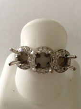 3 stone Diamond setting engagement ring semi mount 14kWhite gold .50 ct. round G