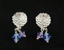 Scottish Ola Gorie Silver Kimono Earrings Lilac Blue