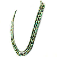 Turquoise 327.50 Cts Earth Mined 3 Strand Round Shape Faceted Beads Necklace