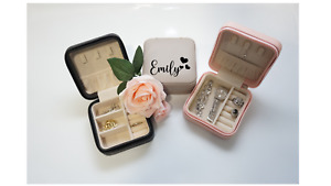 Personalised Custom Quality Square Leather Jewellery Box Gift Grey Black Pink