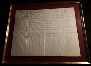 KING LOUIS XVI AUTOGRAPH - DOCUMENT ON PARCHMENT IN FRAME SIGNED ON MAY 9, 1783