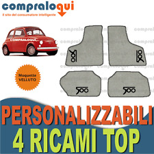per FIAT 500 EPOCA 57-75 TAPPETINI tappeti AUTO in VELLUTO BEIGE + 4 RICAMI TOP