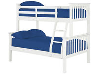 3FT + 3FT SINGLE BUNK BED OR 3FT + 4FT6 DOUBLE WOODEN BUNK BED IN WHITE