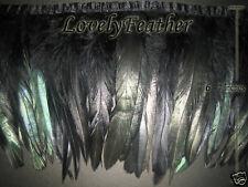 Coque feather fringe of black irridescent colour 1 metre trim