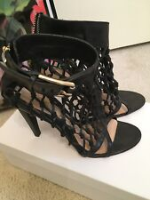 LAMB Gwen Stefani cage black leather heels size 7
