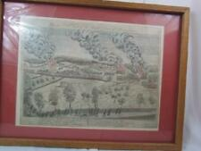 """Vtg Plat IV A View of the South Part of Lexington Matted Glass Framed 19"""" x 25"""""""