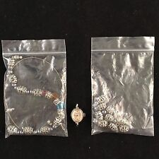 MIXED LOT OF JEWELRY MAKING BEADS & 1 WATCH-SILVER & COLORED-FLOWER DESIGN-LOOK