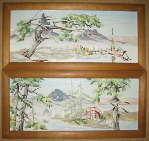 """(2) Vintage """"PAINT by NUMBERS"""" Framed Oriental Asian Scenery Painting EUC !!!"""