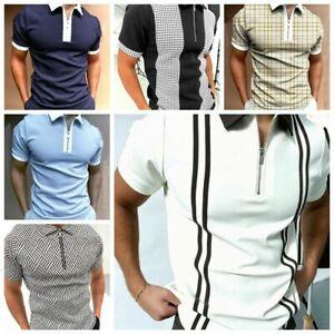 Polo T-Shirt Men Zipper Collared Short Sleeve Fitness Golf Stripe Soft Tee Shirt