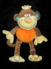 Doudou Singe Bengy marron orange jaune bleu écharpe laine 27 cm