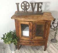 Vintage Nachttisch Kommode Glasfront Vitrinenschrank Massiv Holz Antik Braun