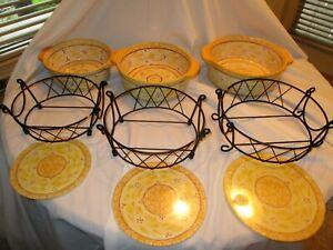 9pc Temp-Tations By Tara Old World Yellow Presentable Ovenware Baking Casserole