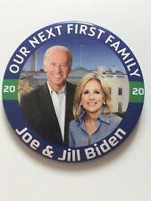 "2020 Joe Biden for President Jill First Lady 3"" Button Our Next First Family Pin"