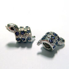 3 Beads - Purple Rhinestone Snake Screw In Only Silver European Bead Charm E1296