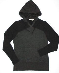 SMARTWOOL Hooded Pullover Sweater GRAY & BLACK 100% Merino Wool Womens MD