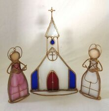 Stained Glass Church with 2 Carolers Suncatcher Votive Tealight Candle Stand