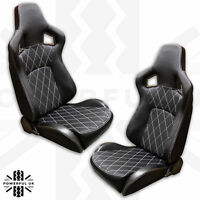 Black+White Stitch SVX style reclining seats interior Land Rover Defender 90 110