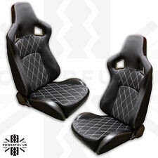 HSX Seat Upgrade Kit in Black Cloth&White Stitching for Land Rover Defender Pair