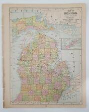 Antique 1892 Mast, Crowell & Kirtpatrick Popular Atlas Map - Michigan