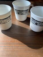 Set of 3 Vintage Corelle Corning Ware Old Town Blue Onion Coffee Tea Cups D Ring