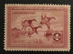 TDStamps: US Federal Duck Stamps Scott#RW2 Mint H OG Lightly Crease Stain