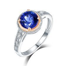14K Rose & White Gold Violet Blue Tanzanite Engagement Wedding Diamond Ring
