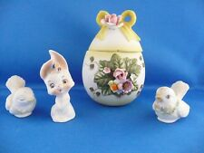 Vintage Lefton 4 pc set Floral Easter Egg Trinket Box w/ 2 birds and bunny.RARE