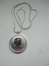 "2012 999 fine Silver Canadian Moose 5 Dollar Coin Neck. 24"" SS DC 2mm Rope Chain"