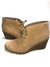 NEW Ladies STELLA PROW Chukka Booties Tan Lace Up Wedge Boots - Size 9