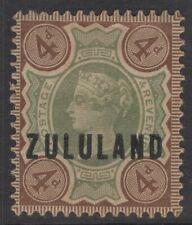 ZULULAND SG6 1888 4d GREEN & DEEP BROWN MTD MINT TONED