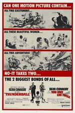 """JAMES BOND - THUNDERBALL & YOU ONLY LIVE TWICE - MOVIE POSTER 12"""" X 18"""""""