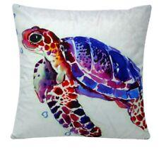 "Sea Turtle Watercolor Effect Animal Print Chenille Cotton 17 x 17"" Cushion Cover"