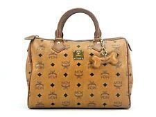 MCM Visetos Handtasche Boston Bag 30 Cognac Tasche Henkeltasche Braun LogoPrint