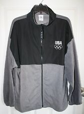 Olympics USA Fleece Jacket XL Light Weight Black Grey Pockets